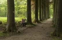 Wandelaars rusten uit in het Bulskampveld.